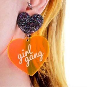 Jewelry - 🆕🌈❤Girl Gang Big Hearts Orange/Rainbow Earrings